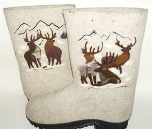 "Picture of Wool boots with hand-painted ""Reindeer"" wool, size 44"