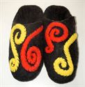 Picture of slippers of wool. Slippers with three-dimensional image.
