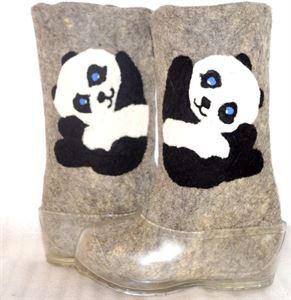 "Picture of ""Panda Bear"" felt boots handmade, 23-26 cm"